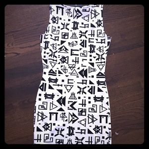 ASOS petite black and white print dress.